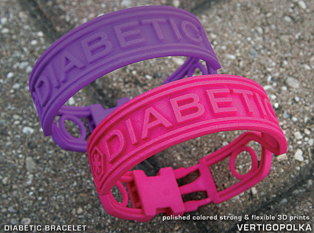Diabetic Bracelet in Pink Strong & Flexible Polished