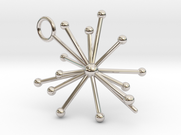 Voyager 1&2 Pulsar Map Pendant in Rhodium Plated Brass