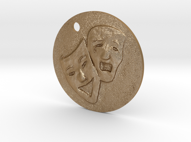 Tragedy Comedy Mask Pendant in Matte Gold Steel
