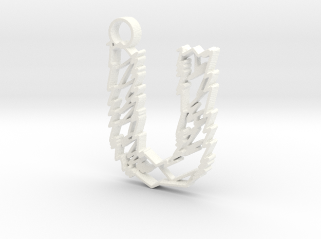 "Sketch ""U"" Pendant in White Processed Versatile Plastic"