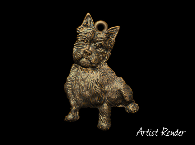 Cairn Terrier Keyfob in White Strong & Flexible