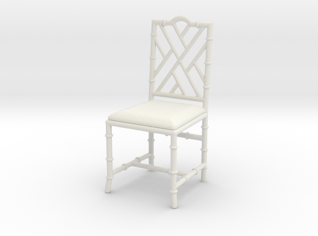 1:12 Chinese Chippendale Chair in White Strong & Flexible
