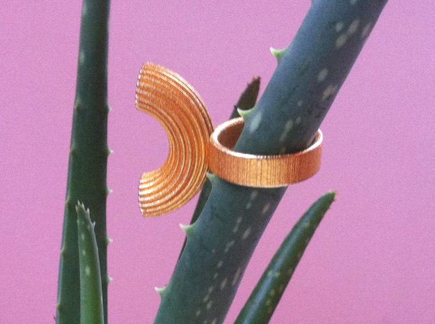 Macaroni Ring in Polished Gold Steel