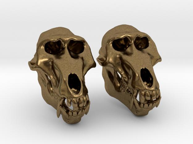 Baboon Skull Earrings - closed jaw
