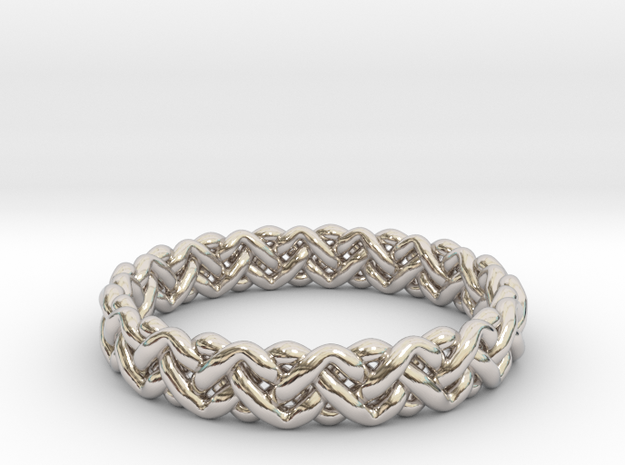 Woven Ring in Rhodium Plated Brass