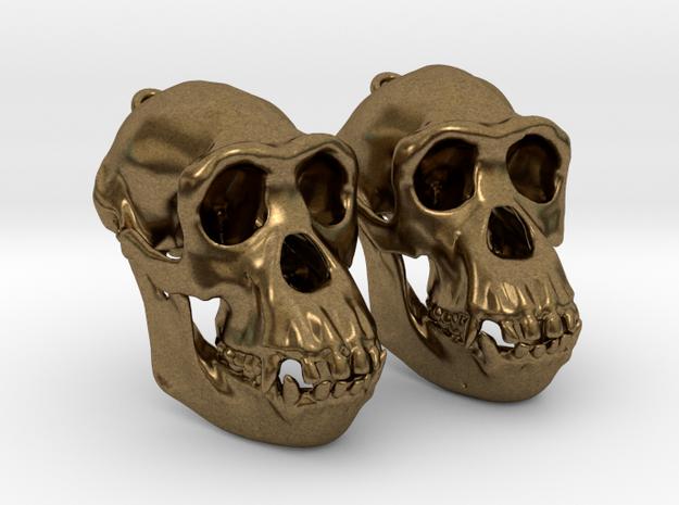 Chimpanzee Skull Earrings  (Pair of 2) in Natural Bronze