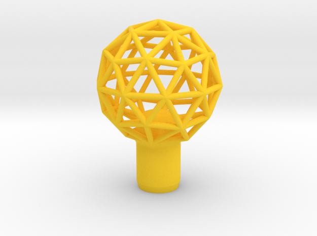 "Shift Knob Geodesic 12x1.25 2"" in Yellow Processed Versatile Plastic"