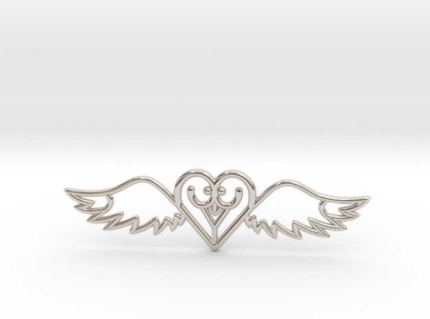 Flying Heart Necklace in Rhodium Plated Brass