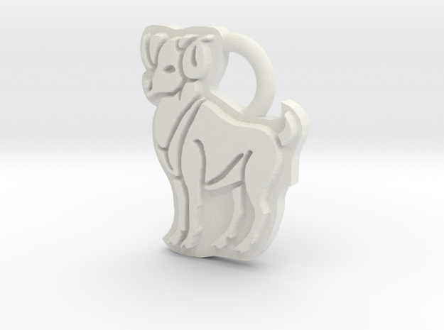 Aries Ram Ring Tag in White Strong & Flexible