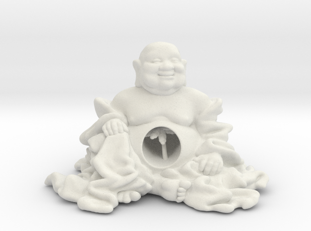 HOTEI AND TREE 2'' in White Natural Versatile Plastic