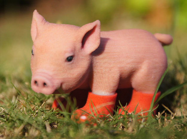 Piglet In Red Boots in Full Color Sandstone