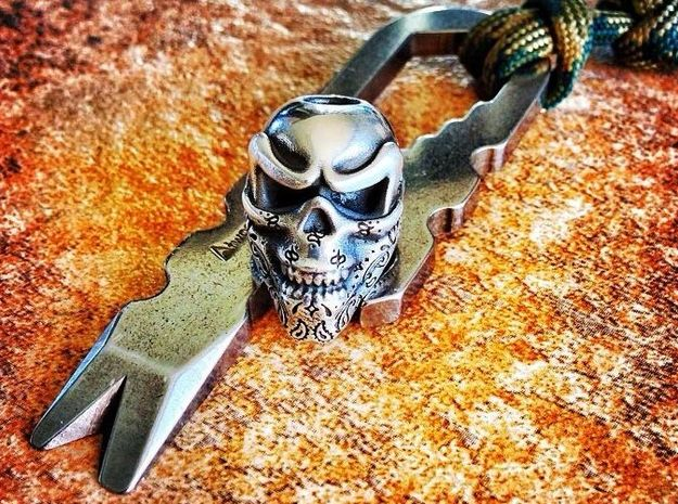 Skull Bead - Bandit in Raw Silver