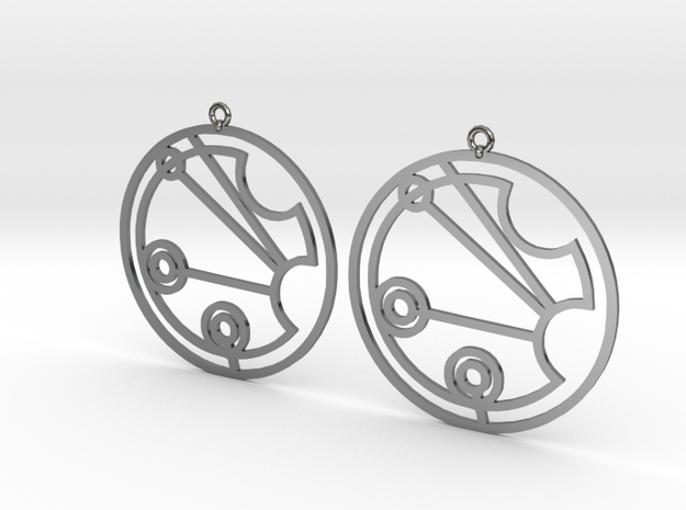 Justine - Earrings - Series 1 in Fine Detail Polished Silver