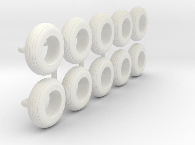1/64 8.5L-14 Implement Tire in White Natural Versatile Plastic