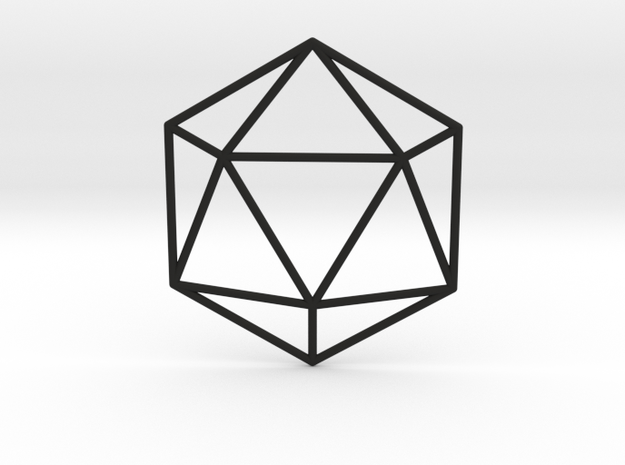 Icosahedron Wireframe in Black Natural Versatile Plastic