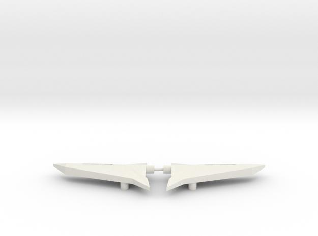 Sideways Wings in White Natural Versatile Plastic