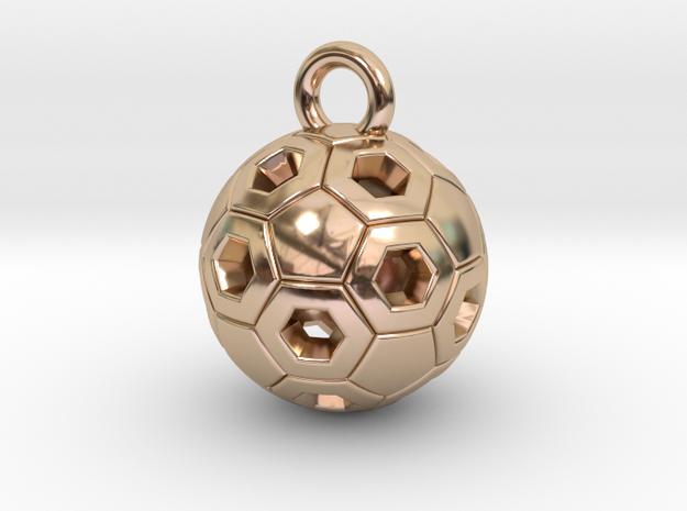 SOCCER BALL B in 14k Rose Gold Plated Brass