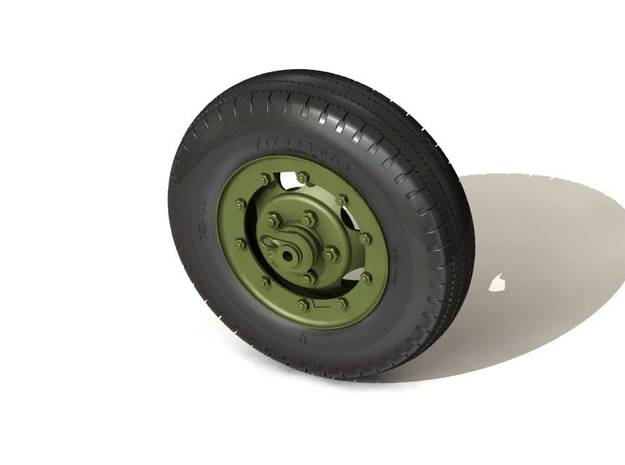 Set of 57mm Gun Carriage TIRE & WHEEL for M1A3 car 3d printed Representation of finished model.