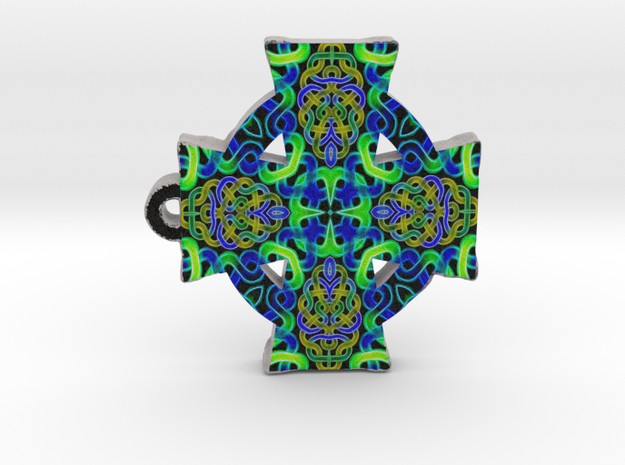 Blue Green Celtic Cross Pendant in Full Color Sandstone