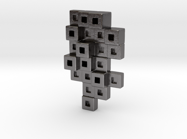 Cubes Tie Pin in Polished Nickel Steel