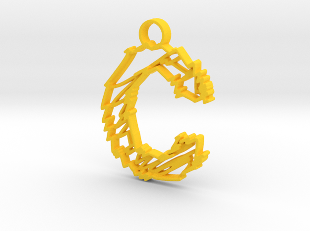 "Sketch ""C"" Pendant in Yellow Processed Versatile Plastic"