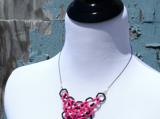 Magenta, Black and White Mesh Pendant 3d printed