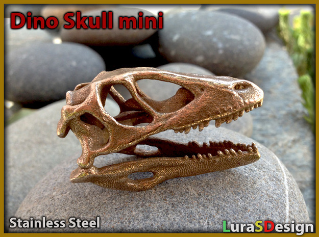 Mini Raptor Dinosaur Skull in White Strong & Flexible