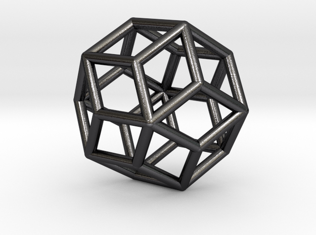 Rhombic Icosahedron Pendant in Polished Grey Steel