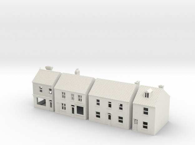 Topsham High Street buildings N Scale 1:148 in White Natural Versatile Plastic