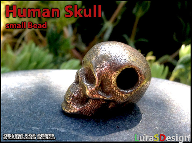 Human Skull Bead - small in Polished Bronzed Silver Steel