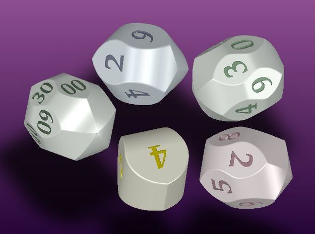 "Set of ""Mauritanian"" dice (digits) 3d printed"