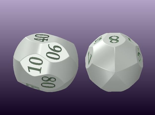 "Two D10 ""Mauritanian"" dice (digits) 3d printed"