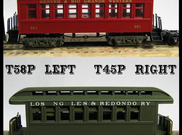 """T45p x8 N scale offset """"V&T"""" 5' truck for Overton in Frosted Ultra Detail"""
