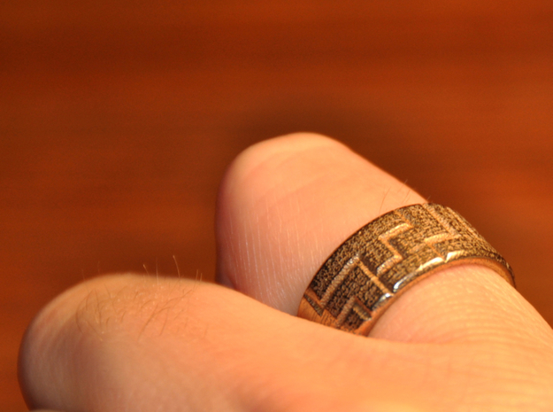 Pentomino ring, 60mm circumference in Polished Bronzed Silver Steel
