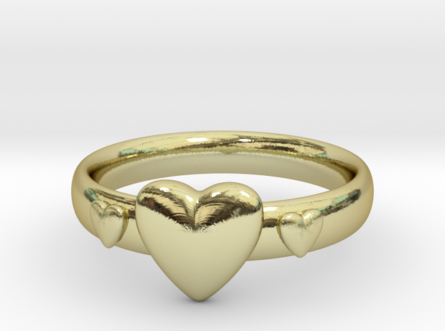 Ring with hearts in 18k Gold Plated Brass