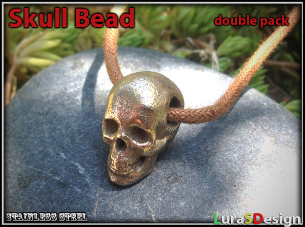 Human Skull Bead - double pack in Stainless Steel