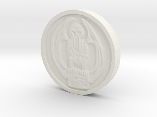 Cthulhu Coin in White Strong & Flexible