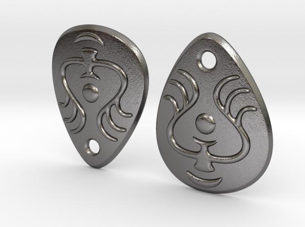 Laputian Earrings in Polished Nickel Steel