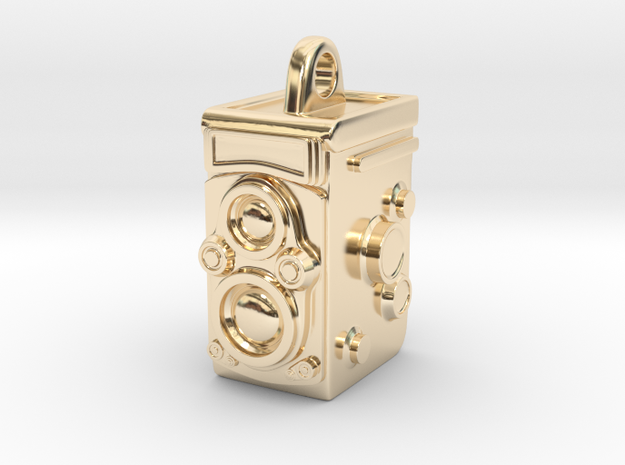 Rolleiflex Camera Pendant in 14k Gold Plated