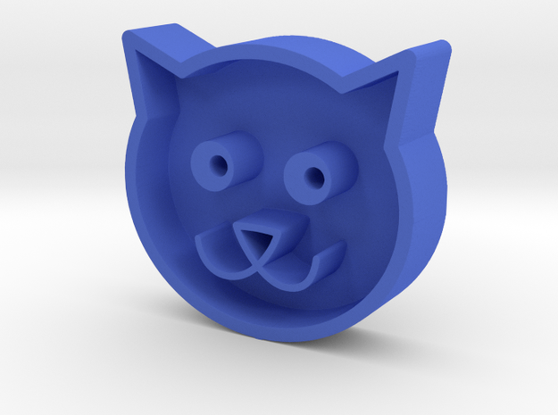 Cat head in Blue Processed Versatile Plastic