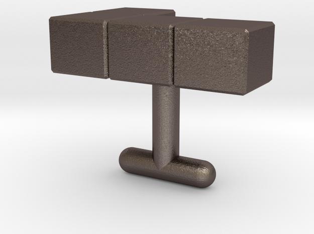 """L"" Tetris cufflink in Polished Bronzed Silver Steel"