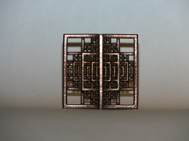 Beamed Octahedron Fractal - Medium 3d printed Polished Bronze Steel