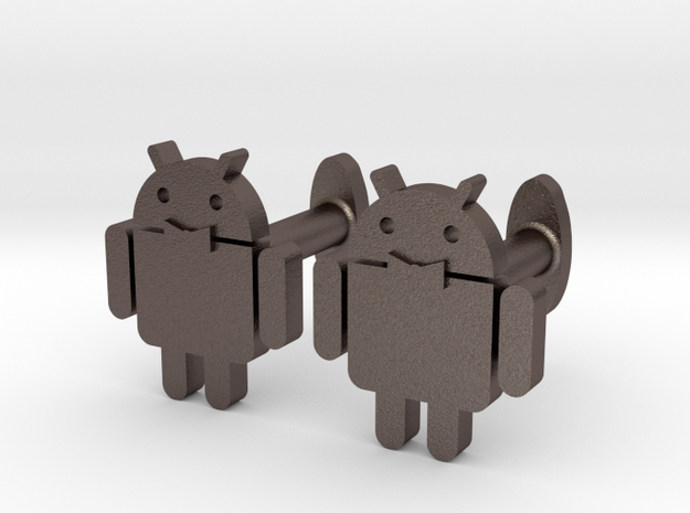 Android-cufflink in Polished Bronzed Silver Steel