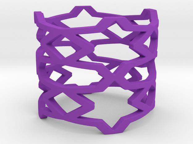 Stars and rhombus Ring Size 11 in Purple Processed Versatile Plastic