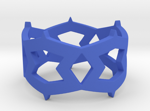 Rhombus and other shapes Ring Size 11 in Blue Processed Versatile Plastic