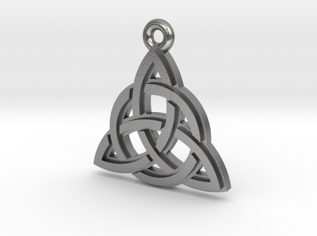 """Trinity Knot"" Pendant, Cast Metal in Raw Silver"