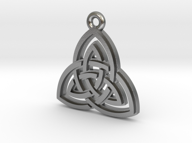 """Double Triquetra"" Pendant, Cast Metal in Natural Silver"
