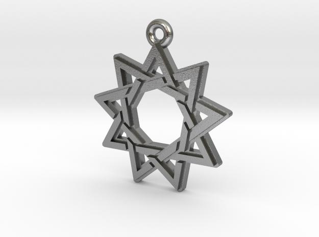 """Nonagram 3.0"" Pendant, Cast Metal in Natural Silver"