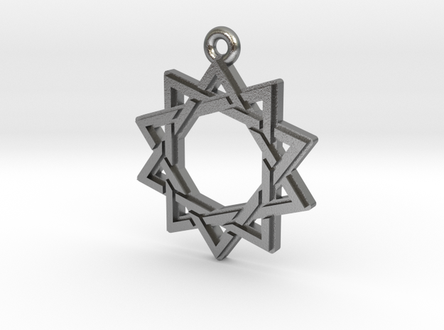 """Decagram 3.0"" Pendant, Cast Metal in Natural Silver"