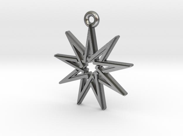 """Nonagram 4.1"" Pendant, Cast Metal in Natural Silver"